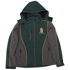 Katikati College Softshell Jkt Forest/Grey w/Gold Piping
